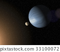 Large blue gas giant planet and a moon 33100072