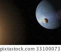 Large blue gas giant planet and a moon  33100073