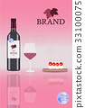 Brand. Bottle of red wine with glass 33100075
