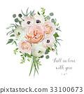 Flower floral vector bouquet garden Rose Anemone 33100673