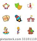 Show icons set, cartoon style 33101110