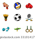 Sport competition icons set, cartoon style 33101417