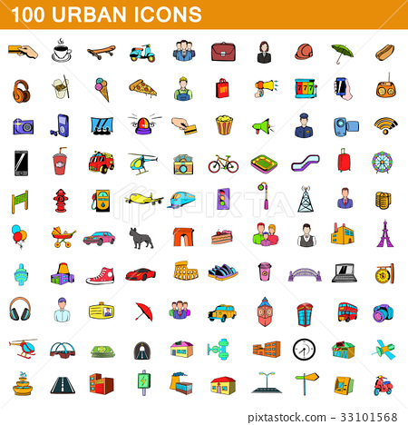 100 urban icons set, cartoon style  33101568