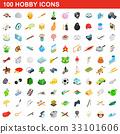 100 hobby icons set, isometric 3d style 33101606