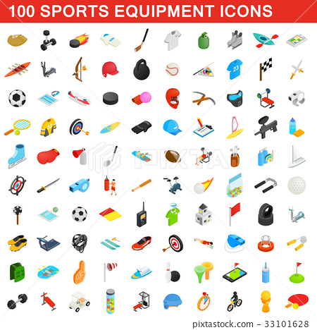 100 sports equipment icons set, isometric 3d style 33101628