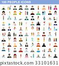 100 people icons set, flat style 33101631