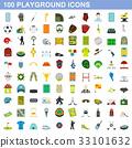 100 playground icons set, flat style 33101632