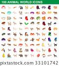 100 animal icon 33101742