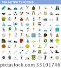 100 activity icons set, flat style 33101746