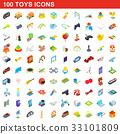 100 toys icons set, isometric 3d style 33101809