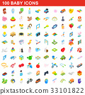 100 baby icons set, isometric 3d style 33101822