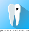 human tooth as a notepad. Flat design 33106149