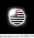 Solar or Lunar eclipse and american flag . Vector 33106179