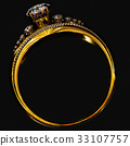 Engagement gold ring with jewelry gem. 33107757
