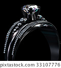 Black gold coating engagement ring with diamond 33107776