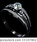 Black gold coating engagement ring with diamond 33107802