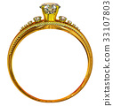 Gold ring with diamond gem. luxury female 33107803
