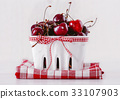 fresh red cherries on a white bowl 33107903