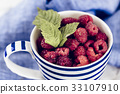 Fresh branch of raspberries in blue stripped mug 33107910