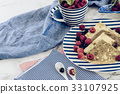 pancakes with raspberry, currant on blue plate  33107925