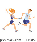 Relay race. Running man and woman. Vector 33110052