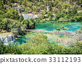 Tourists are swimming in river near the waterfalls 33112193