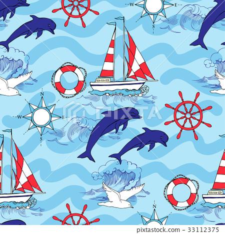 Nautical seamless pattern 33112375