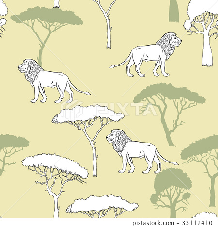 Seamless Pattern with Lion and savanna trees 33112410