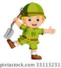 cute hiker holding shovel 33113231