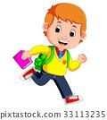 cute boy go to school cartoon 33113235