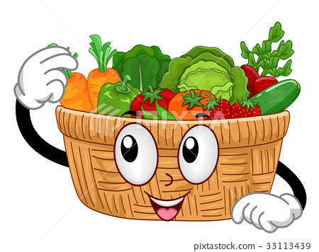 Mascot Basket Vegetables - Stock Illustration [33113439 ...