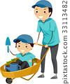 Stickman Family Dad Kid Boy Garden Cart 33113482