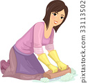 Girl Clean Scrub Floor 33113502