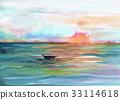 바다, 수채화, 석양 33114618