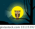 Owl sitting on a tree branch  33115392
