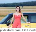 adult girl near car 33115548