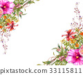 watercolor painting of leaves and flower, on white 33115811