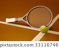 Tennis,racket,with,ball,on,hard,surface,clay,court 33116746