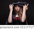 Blond woman undressing black hood 33117717