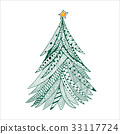 Christmas tree doodle, hand drawn, green on white 33117724