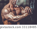 Brutal caucasian handsome fitness men on diet training chest pum 33118485