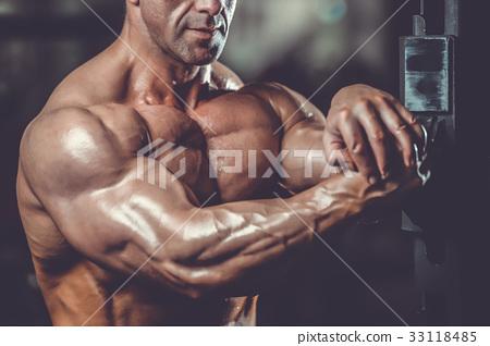 Brutal caucasian handsome fitness men on diet training chest pum 33118485