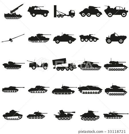 Set Army transport black silhouette icons Vector. 33118721