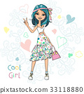 Vector cute fashionable girl 33118880