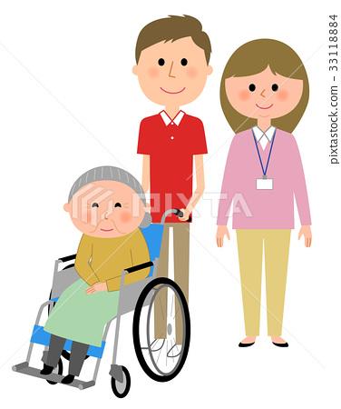 휠체어를 타는 노인 간호 직원 33118884