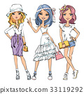 Vector SET of cute fashionable girls 33119292