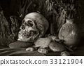 Still life with a human skull with desert plants 33121904