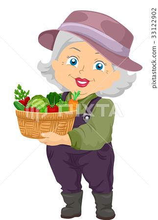 Senior Girl Gardener Harvest 33122902