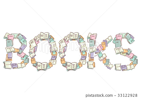 Book Lettering Book Pile - Stock Illustration [33122928] - PIXTA