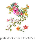 watercolor painting of leaves and flower, on white 33124053
